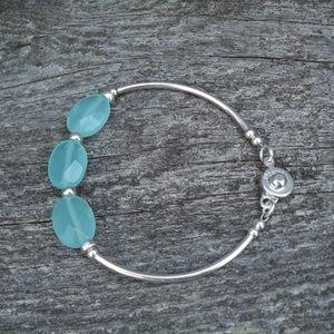 Jewelry - Sterling silver bangle bracelet - Chalcedony